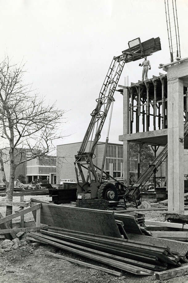 Rice construction work was ahead of plan on addition to MD Anderson Biological Laboratories in March of 1967. Photo: Houston Chronicle File Photo