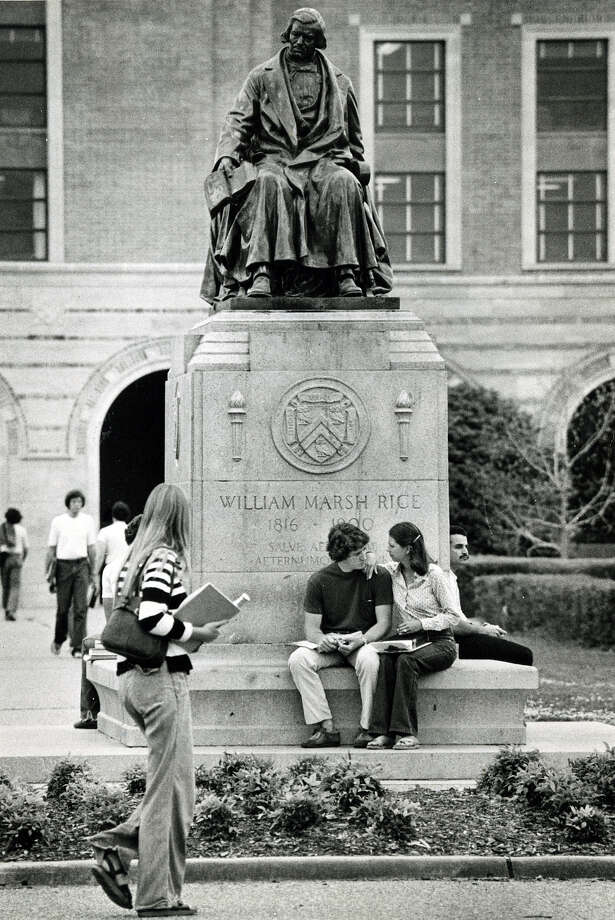 Students at Rice University relax between classes under the William M. Rice Statue in April of 1978. Photo: Houston Chronicle File Photo