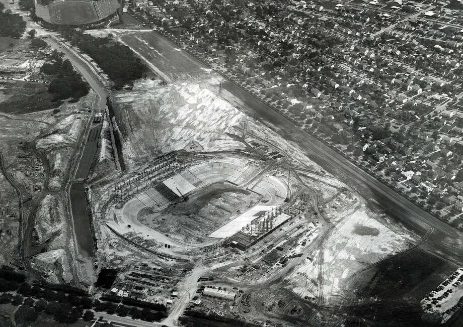 1950 aerial of Rice Stadium under construction. Photo: Houston Chronicle File Photo