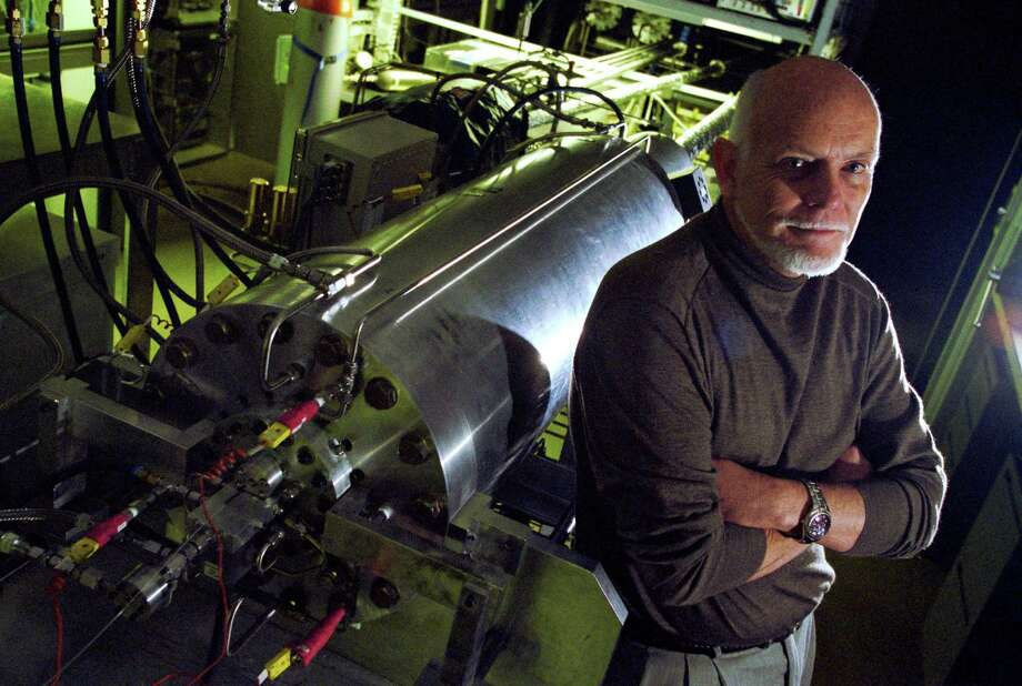 Rice University professor Rick Smalley stands with a machine to make carbon nanotubes Wednesday afternoon, Jan. 15, 2003, in Houston. Photo: Kevin Fujii, Houston Chronicle / Houston Chronicle