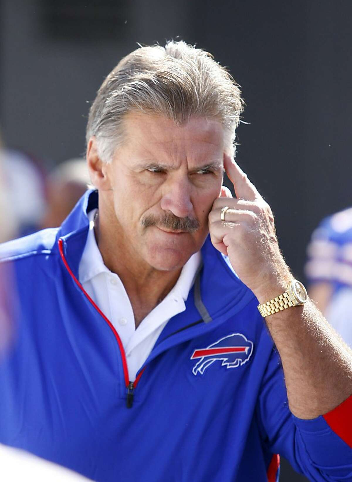 Buffalo Bills' defensive coordinator Dave Wannstedt heads onto the field before playing the Kansas City Chiefs in an NFL football game in Orchard Park, N.Y., Sunday, Sept. 16, 2012. (AP Photo/Bill Wippert)