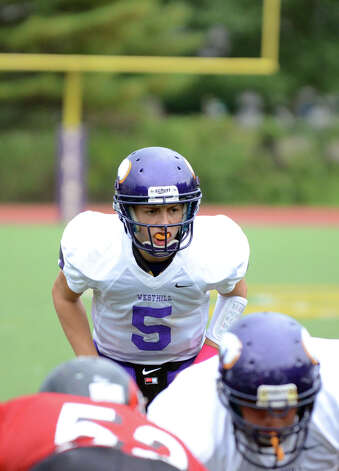 Westhill's Ryan Cappola (5) on the field during the football game against Central at Westhill High School on Saturday, Oct. 6, 2012. Photo: Amy Mortensen / Connecticut Post Freelance