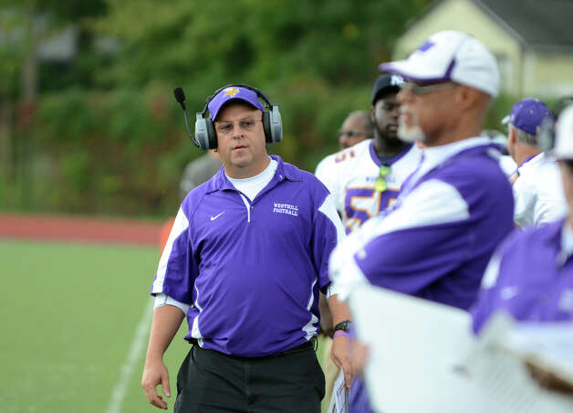 Westhill head football coach Frank Marcucio on the sidelines during the football game against Central at Westhill High School on Saturday, Oct. 6, 2012. Photo: Amy Mortensen / Connecticut Post Freelance