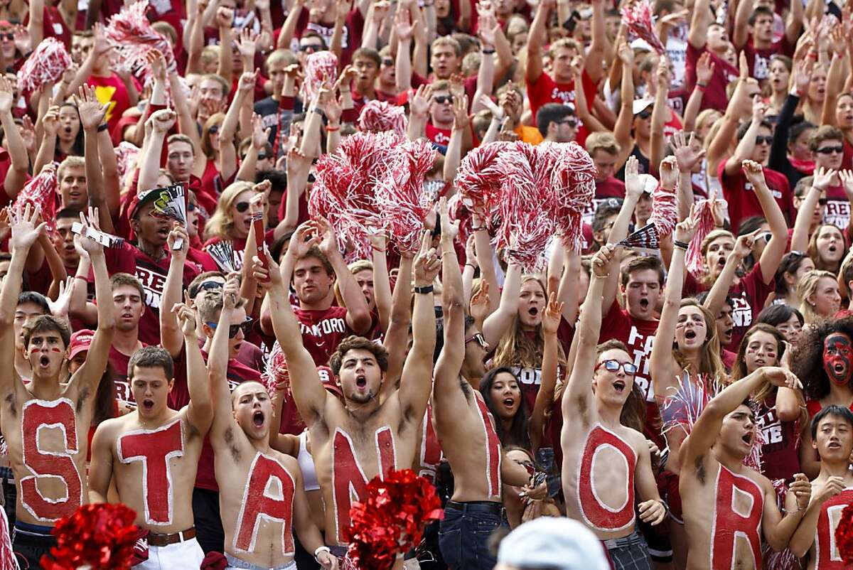 PALO ALTO, CA - OCTOBER 06: Stanford Cardinal fans celebrate after a touchdown against the Arizona Wildcats during the second quarter at Stanford Stadium on October 6, 2012 in Palo Alto, California. (Photo by Jason O. Watson/Getty Images)
