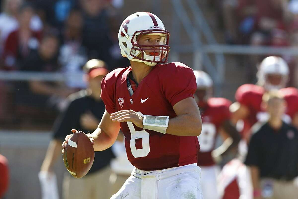 PALO ALTO, CA - OCTOBER 06: Quarterback Josh Nunes #6 of the Stanford Cardinal passes against the Arizona Wildcats during the fourth quarter at Stanford Stadium on October 6, 2012 in Palo Alto, California. The Stanford Cardinal defeated the Arizona Wildcats 54-48 in overtime.(Photo by Jason O. Watson/Getty Images)