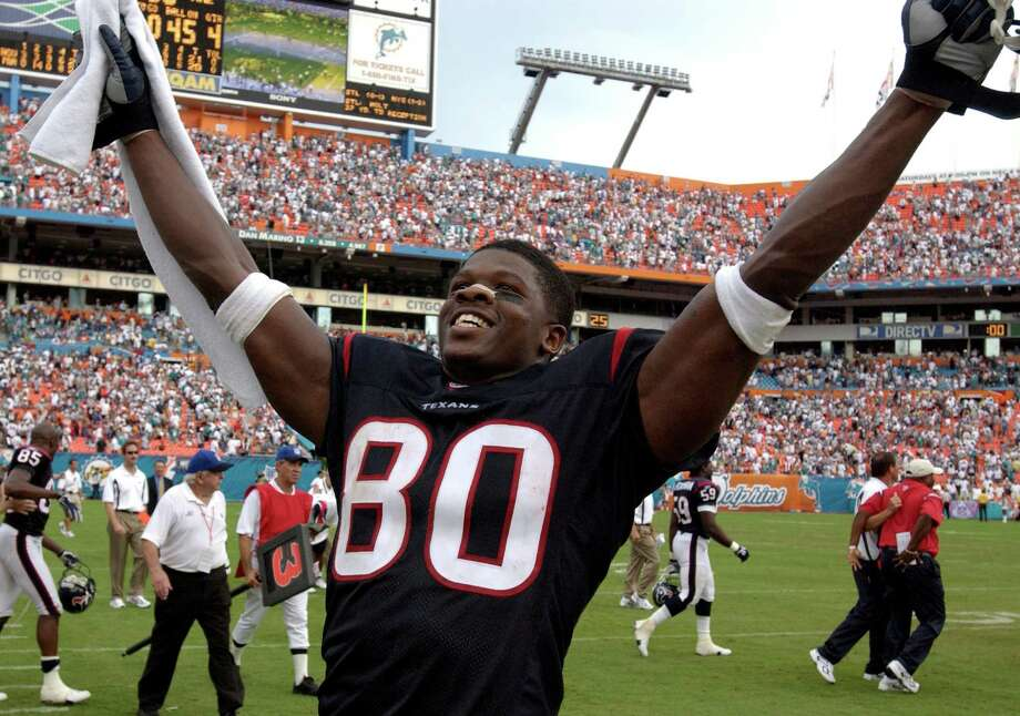 For Miami native Andre Johnson, his NFL debut was particularly sweet. He led the Texans to a 2003 season-opening upset of the Dolphins in his hometown. Photo: Karl Stolleis / Houston Chronicle