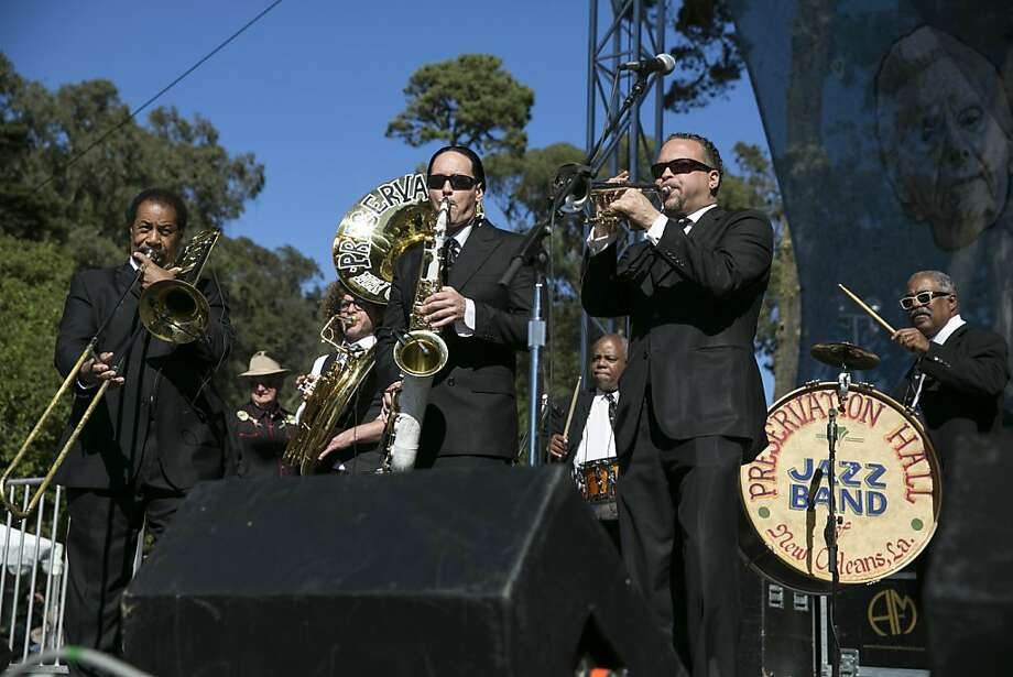 The Preservation Hall Jazz Band plays on the Banjo Stage during a tribute performance honoring Warren Hellman, Earl Scruggs and Doc Watson at Hardly Strictly Bluegrass in Golden Gate Park in San Francisco, Calf., on Saturday, October 6, 2012. Photo: Laura Morton, Special To The Chronicle