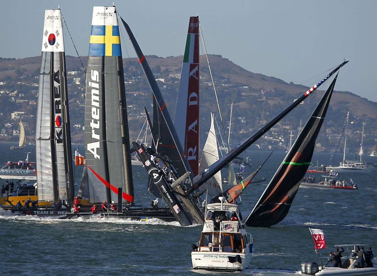 Oracle Team USA Spithill capsizes in the first fleet race of the America's Cup World Series in San Francisco, Calif. on Saturday, Oct. 6, 2012.