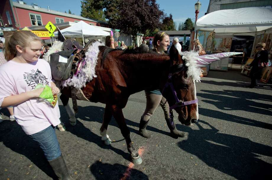 Willow, a 34 year-old horse, makes its way through the crowd during Issaquah Salmon Days on Saturday, October 6, 2012. The annual festival kicks off with a parade and celebrates the return of the salmon to Issaquah Creek. Photo: JOSHUA TRUJILLO / SEATTLEPI.COM