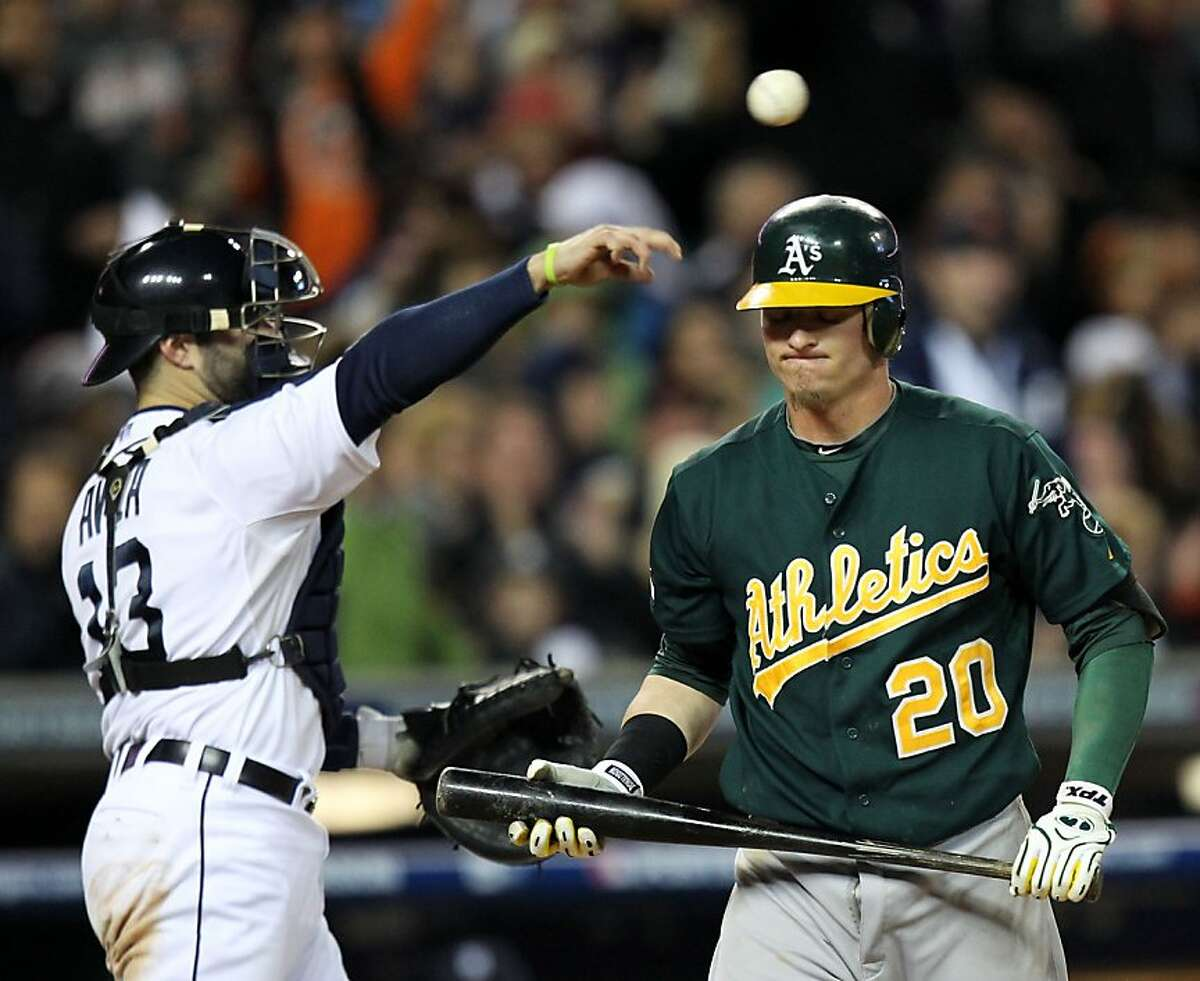 Oakland Athletics Josh Donaldson reacts to striking out in the 9th inning of their ALDS game with the Detroit Tigers Saturday October 6, 2012 in Detroit MI
