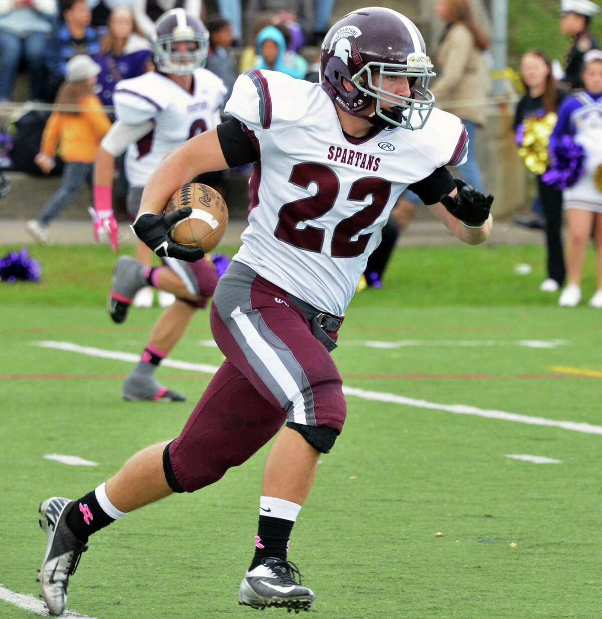 Burnt Hills' #22 Dan Nuzzi steches out a pass completion against Amsterdam High Saturday Oct. 6, 2012. (John Carl D'Annibale / Times Union)