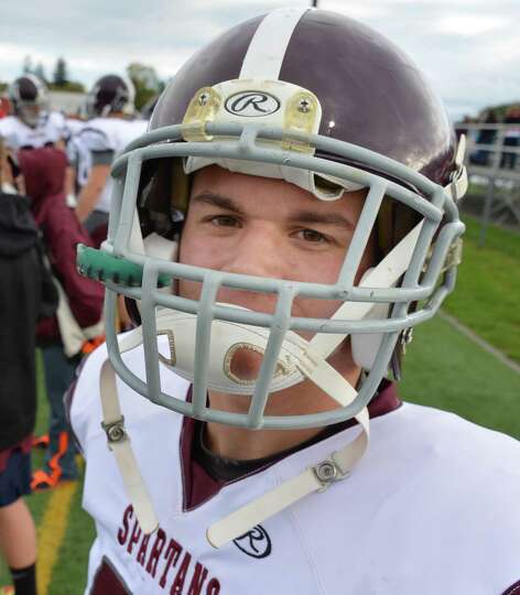 Burnt Hills' #44 linebacker David Newell during Saturday's game at Amsterdam High Oct. 6, 2012.  (Jo