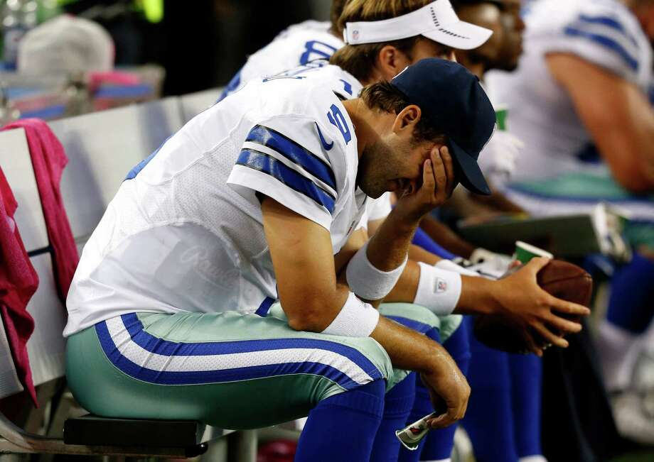 The Cowboys sank to 2-2 this season following Tony Romo's five-interception outing in Monday's loss to Chicago. Dallas has been a .500 team since 1997. Photo: Sharon Ellman / FR170032 AP