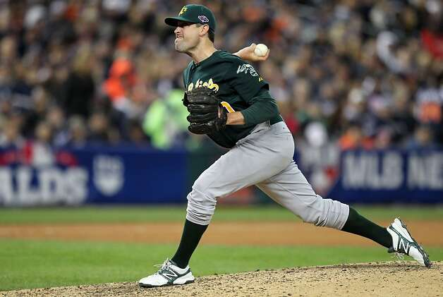 "A's reliever Pat Neshek says he's been using the same Katz model glove since ""around 2004."" Photo: Lance Iversen, The Chronicle"