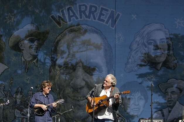 Tim O'Brien (left) and Peter Rowan perform on the Banjo Stage during a tribute to Warren Hellman, Earl Scruggs and Doc Watson at Hardly Strictly Bluegrass in Golden Gate Park in San Francisco, Calf., on Saturday, October 6, 2012. Photo: Laura Morton, Special To The Chronicle