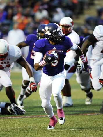 Northwestern State wide receiver Phillip Harvey, 5, charges down the field for a touchdown Northwestern State football game against Lamar University at Northwestern State University on Saturday, October 6, 2012. Photo taken: Randy Edwards/The Enterprise