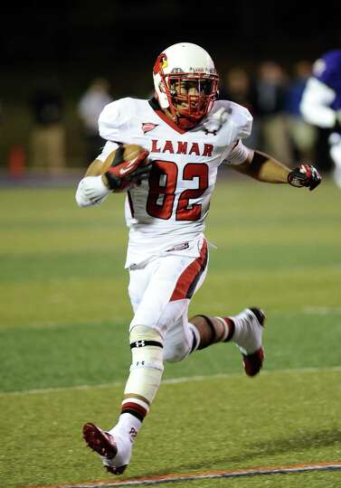 Lamar wide receiver Reggie Begelton pushes for 10 yards after receiving a pass in the second quarter