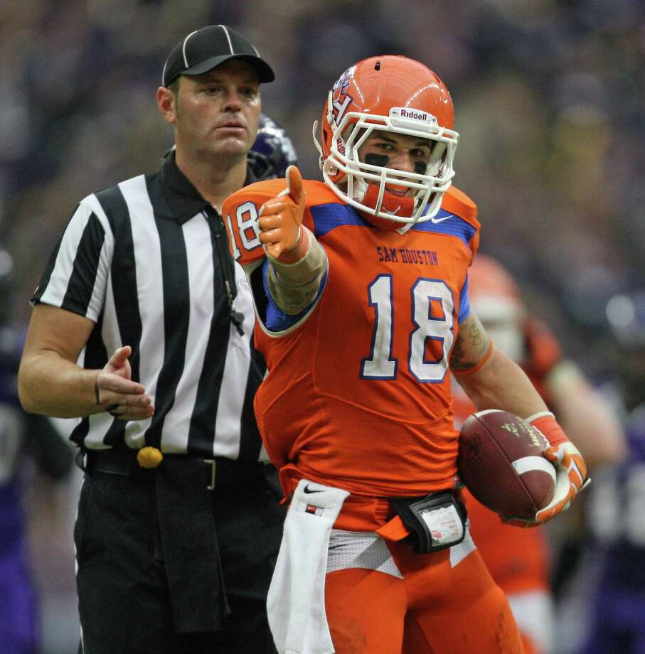 Sam Houston State's Trey Diller signals first down after making a reception during the second half. Photo: Eric Christian Smith, For The Chronicle