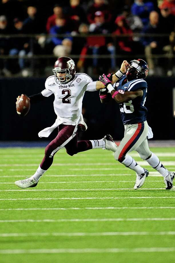 A&M 30, Ole Miss 27  Oct. 6, 2012A&M trailed 27-17 midway  through the fourth before scoring on a 29-yard TD run by Manziel and Ryan  Swope's over-the-shoulder snag in the left corner of the end zone on a perfect  pass. Much of the rest of the night was imperfect for Manziel, who looked like a  freshman in his SEC road debut. Manziel had half of A&M's turnovers with two  interceptions and a fumble.  Photo: Stacy Revere, Getty Images / 2012 Getty Images