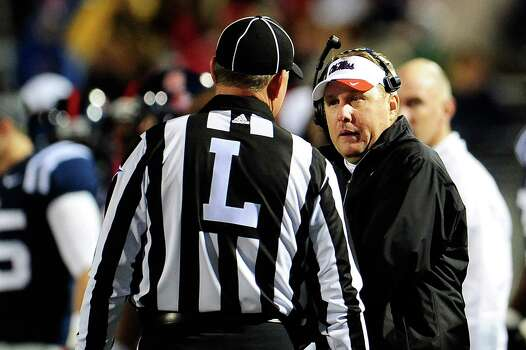 OXFORD, MS - OCTOBER 06: Head coach Hugh Freeze of the Ole Miss Rebels argues an officials call during a game against the Texas A&M Aggies at Vaught-Hemingway Stadium on October 6, 2012 in Oxford, Mississippi. Photo: Stacy Revere, Getty Images / 2012 Getty Images