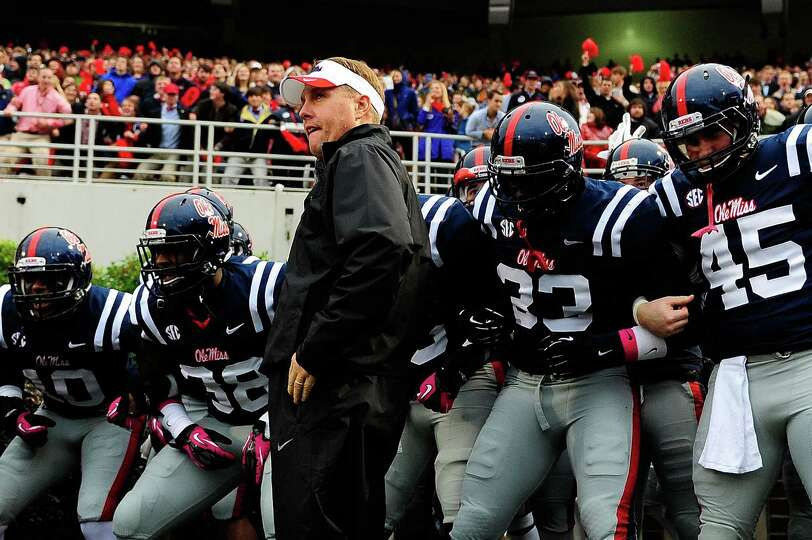 OXFORD, MS - OCTOBER 06: Head coach Hugh Freeze of the Ole Miss Rebels prepares to bring his team on