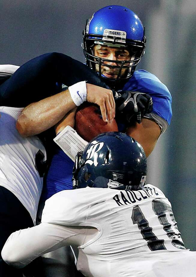 Rice's James Radcliffe sacks Memphis' Jacob Karam. Photo: MARK WEBER / The Commercial Appeal