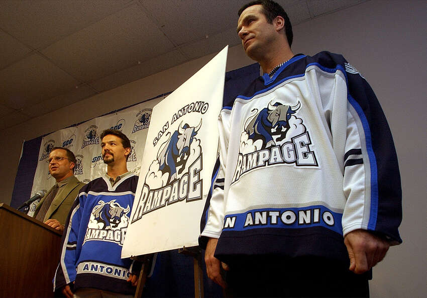 The San Antonio Rampage marked 10 seasons in the Alamo City with the end of the 2011-2012 season this spring. Here's a look back at some of the great photos the San Antonio Express-News has shot of the team over the years. FIRST SEASON, 2002-2003: Head coach John Torchetti (right) models the home jersey for the new San Antonio Rampage as assistant coach Scott Allen wears the away jersey during a press conference at the Alamodome on Wednesday, Sept. 4, 2002.