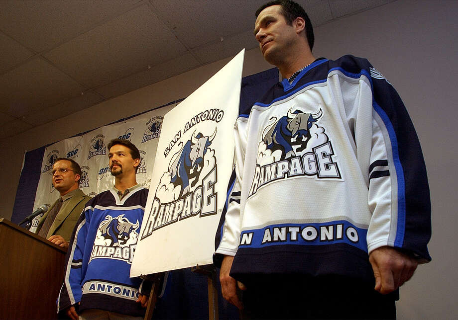The San Antonio Rampage marked 10 seasons in the Alamo City with the end of the 2011-2012 season this spring. Here's a look back at some of the great photos the San Antonio Express-News has shot of the team over the years.FIRST SEASON, 2002-2003: Head coach John Torchetti (right) models the home jersey for the new San Antonio Rampage as assistant coach Scott Allen wears the away jersey during a press conference at the Alamodome on Wednesday, Sept. 4, 2002. Photo: Billy Calzada, San Antonio Express-News / SAN ANTONIO EXPRESS-NEWS