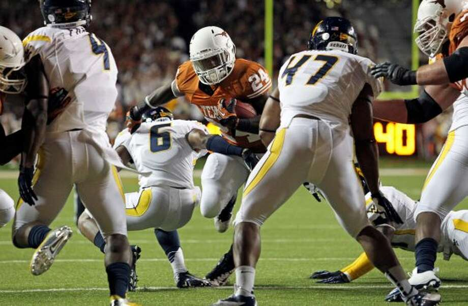 Longhorn running back Joe Bergeron nears the goal in the second quarter as Texas hosts West Virginia at Darrel K. Royal Texas Memorial Stadium in Austin on October 6, 2012. (San Antonio Express-News)