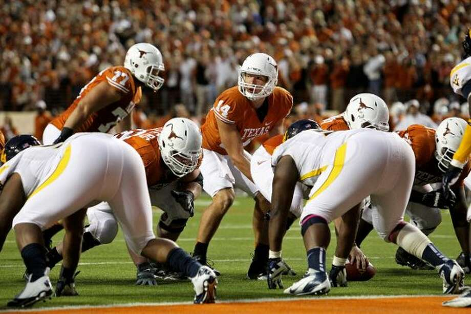 David Ash steps up to run the Longhorn offense as Texas hosts West Virginia at Darrel K. Royal Texas Memorial Stadium in Austin on October 6, 2012. (San Antonio Express-News)