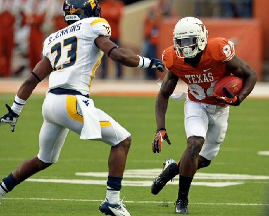 Marquise Goodwin moves on a return for the Longhorns as Texas hosts West Virginia at Darrel K. Royal Texas Memorial Stadium in Austin on October 6, 2012. (San Antonio Express-News)