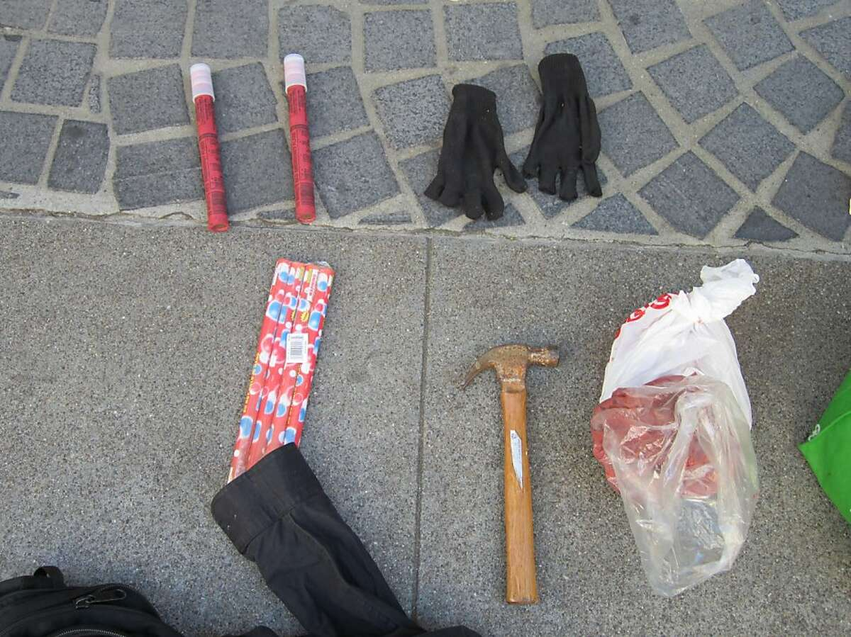 Items taken from some of the 22 protesters who were arrested in San Francisco on Saturday, Oct. 6, 2012.