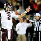OXFORD, MS - OCTOBER 06:  Johnny Manziel #2 of the Texas A&M Aggies reacts to a call during a game against the Ole Miss Rebels at Vaught-Hemingway Stadium on October 6, 2012 in Oxford, Mississippi.  (Photo by Stacy Revere/Getty Images) (Getty Images)