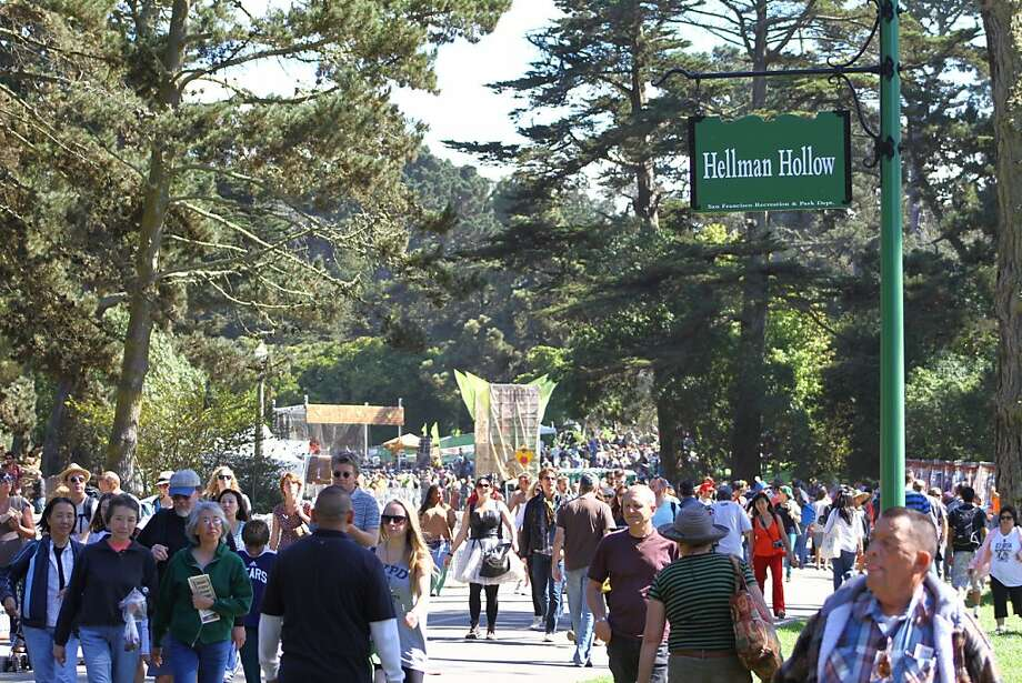 Crowds walk by the newly named Hellman Hollow for the second day of Hardly Strictly Bluegrass in Golden Gate Park in San Francisco, CA on October 6, 2012. Photo: Clint Wirtanen, The Chronicle