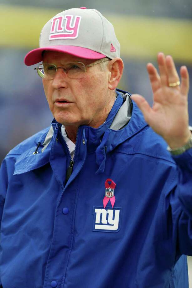 New York Giants head coach Tom Coughlin gestures before an NFL football game between the New York Giants and the Cleveland Browns Sunday, Oct. 7, 2012, in East Rutherford, N.J. (AP Photo/Julio Cortez) Photo: Julio Cortez / AP