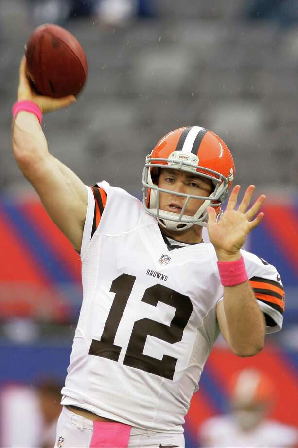 Cleveland Browns quarterback Colt McCoy (12) warms up before an NFL football game between the New York Giants and the Cleveland Browns Sunday, Oct. 7, 2012, in East Rutherford, N.J. (AP Photo/Peter Morgan) Photo: Peter Morgan / AP