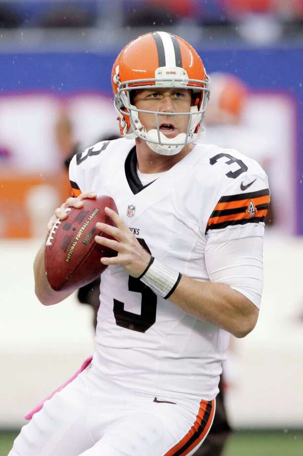 Cleveland Browns quarterback Brandon Weeden (3) warms up before an NFL football game between the New York Giants and the Cleveland Browns Sunday, Oct. 7, 2012, in East Rutherford, N.J. (AP Photo/Peter Morgan) Photo: Peter Morgan / AP