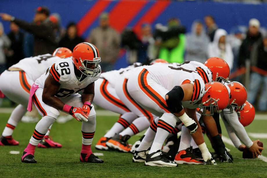 The Cleveland Browns practice before an NFL football game between the New York Giants and the Cleveland Browns Sunday, Oct. 7, 2012, in East Rutherford, N.J. (AP Photo/Julio Cortez) Photo: Julio Cortez / AP