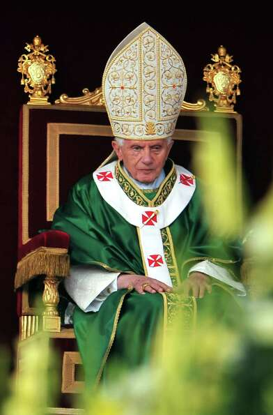 Pope Benedict XVI during the mass of the opening of the Synod of bishops on October 7, 2012 at St Pe
