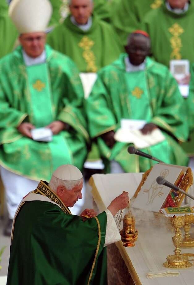 Pope Benedict XVI celebretes a mass during the opening of the Synod of bishops on October 7, 2012 at St Peter's Square at the Vatican.  Photo: TIZIANA FABI, AFP/Getty Images / AFP