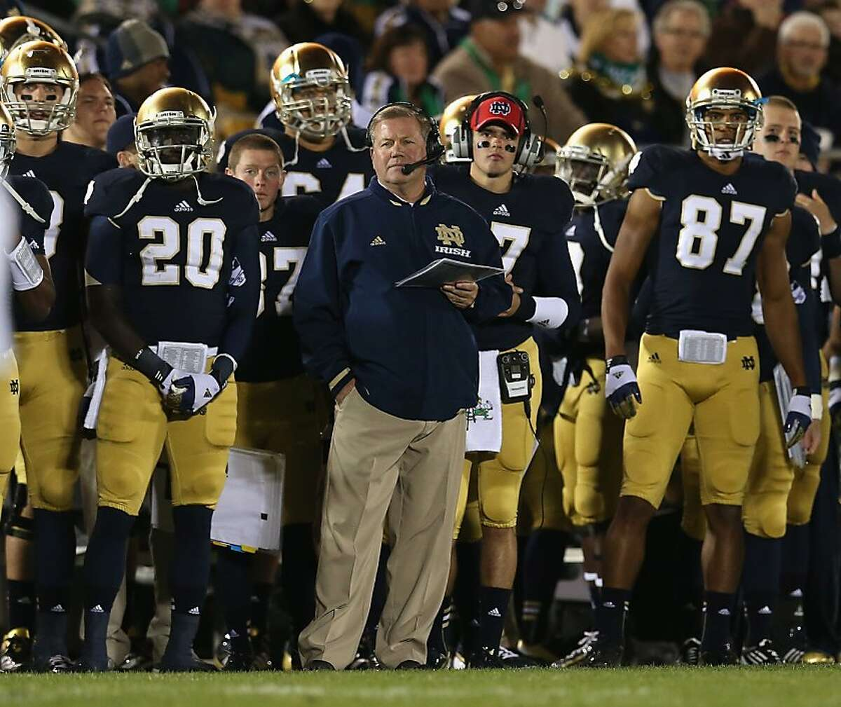 SOUTH BEND, IN - SEPTEMBER 22: Head coach Brian Kelly of the Notre Dame Fighting Irish watches along with his team as the Irish take on the Michigan Wolverines at Notre Dame Stadium on September 22, 2012 in South Bend, Indiana. (Photo by Jonathan Daniel/Getty Images)