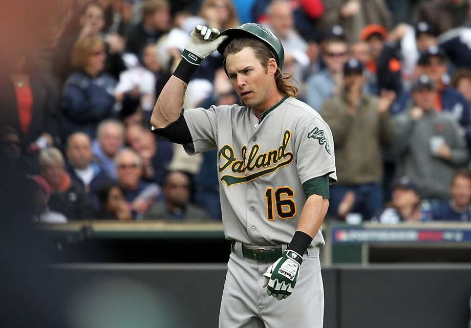 Josh Reddick was sent walking away from the plate six times on strikeouts in Detroit - but he also ripped a go-ahead homer. Photo: Lance Iversen, The Chronicle