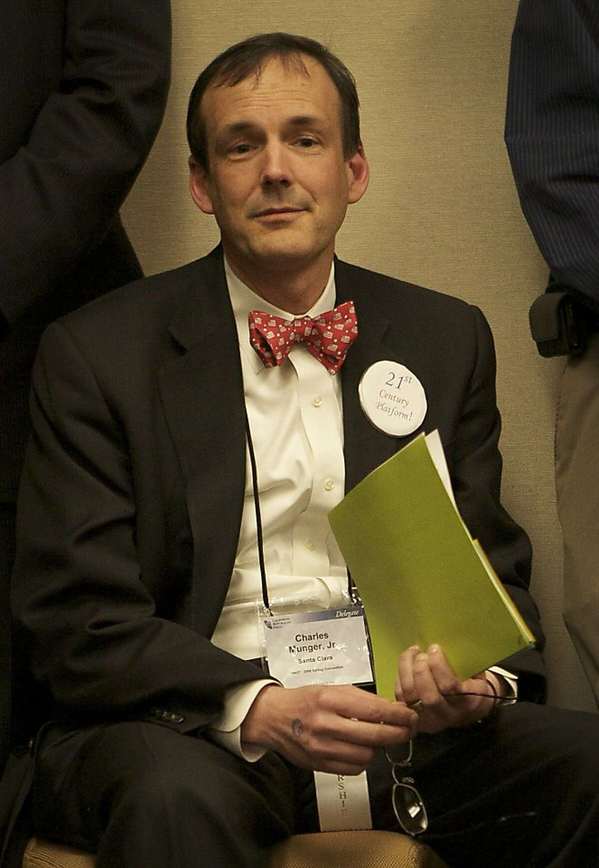 Charles Munger Jr. of Santa Clara, center with bow tie, listens to debate in the Platform committee on day one of the California Republican Party convention held at the Hyatt in San Francisco, Friday Feb. 22, 2008. (Sacramento Bee/ MCT/ Brian Baer)