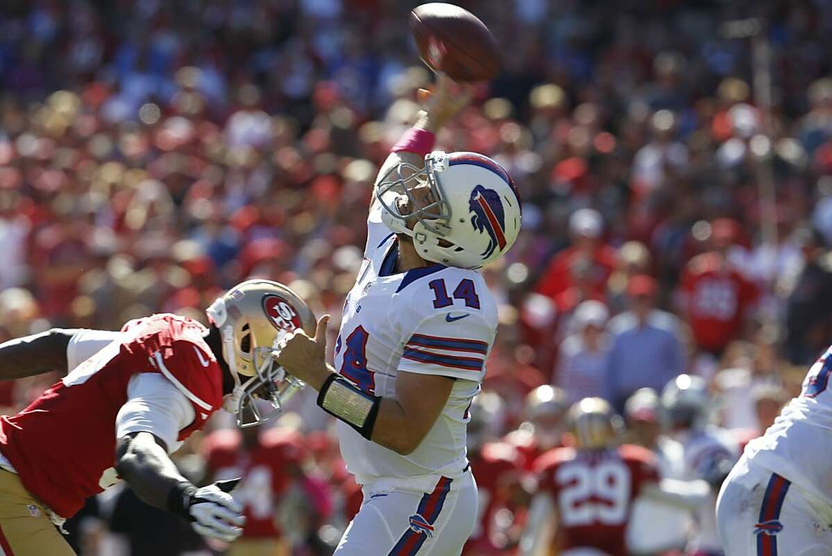 Buffalo Bills quarterback Ryan Fitzpatrick avoids a sack in the second quarter. The San Francisco 49ers played the Buffalo Bills at Candlestick Park in San Francisco, Calif., on Sunday October 7, 2012.