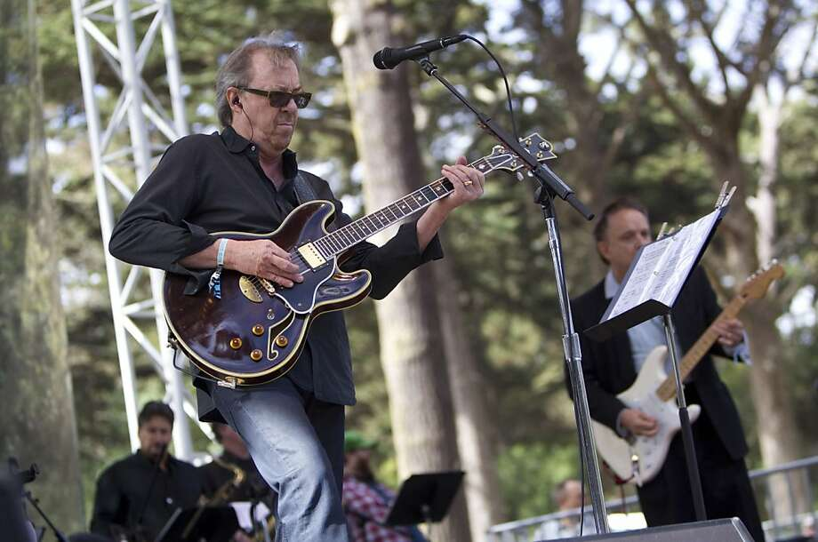Boz Scaggs (left) and Jimmie Vaughan (right) perform with Doug Sahm's Phantom Playboys on the Star Stage during the last day of Hardly Strictly Bluegrass in Golden Gate Park in San Francisco, Calf., on Sunday, October 7, 2012. Photo: Laura Morton, Special To The Chronicle