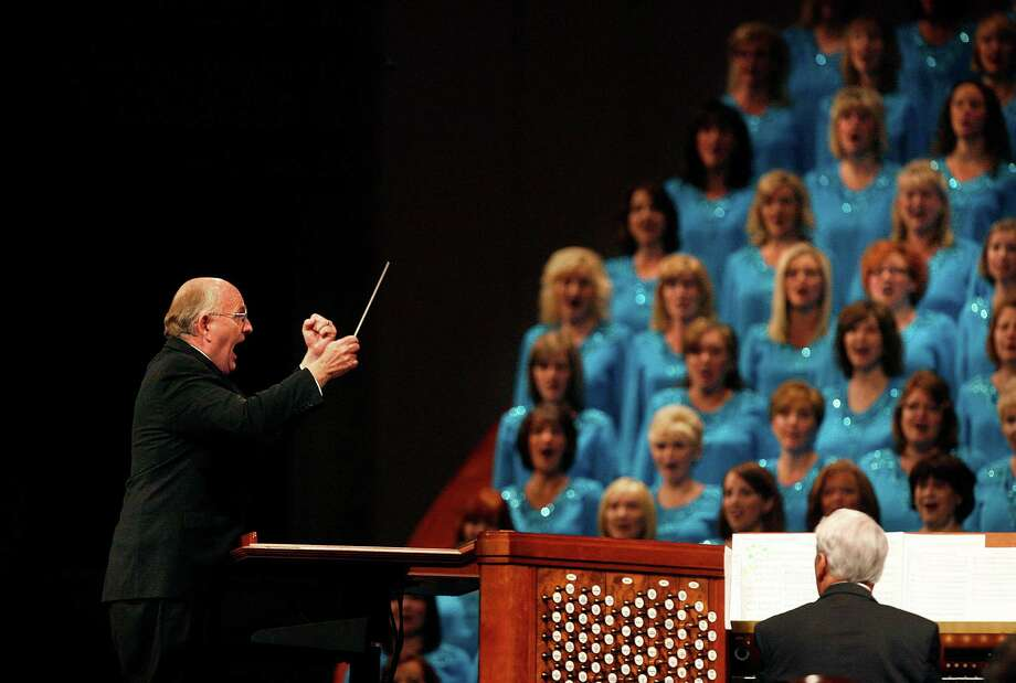 Music director Mack Wilberg leads the choir for the opening of the 182nd Semiannual General Conference for The Church of Jesus Christ of Latter-day Saints in Salt Lake City on Saturday, Oct. 6, 2012. (AP Photo/The Salt Lake Tribune, Scott Sommerdorf) Photo: Scott Sommerdorf, Associated Press / The Salt Lake Tribune