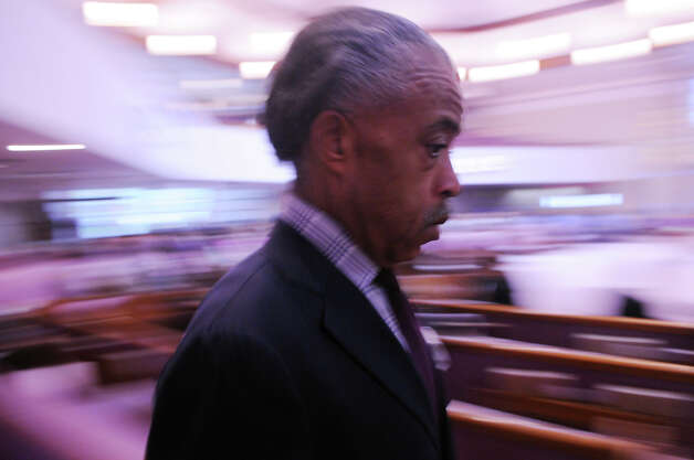 "Rev. Al Sharpton arrives in Stamford to serve as a guest preacher during a ""Get Out to Vote Rally"" at the Union Baptist Church on Newfield Avenue in Stamford, Conn., Oct. 7, 2012. Photo: Keelin Daly / Stamford Advocate"