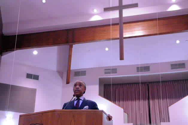 "Rev. Al Sharpton serves as a guest preacher during a ""Get Out to Vote Rally"" at the Union Baptist Church on Newfield Avenue in Stamford, Conn., Oct. 7, 2012. Photo: Keelin Daly / Stamford Advocate"