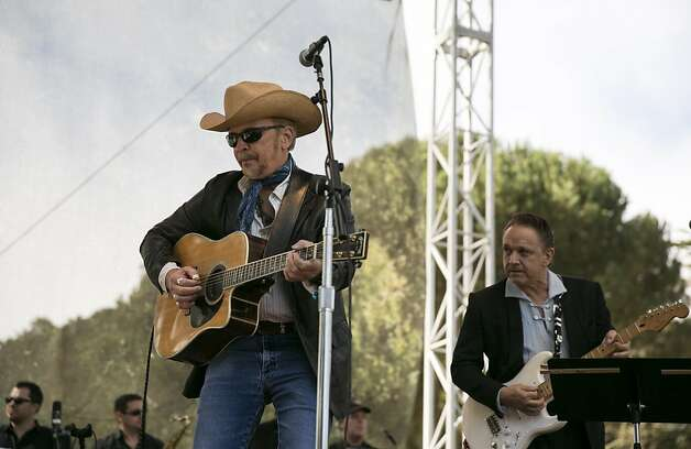 Dave Alvin (left) and Jimmie Vaughan (right) perform with Doug Sahm's Phantom Playboys on the Star Stage during the last day of Hardly Strictly Bluegrass in Golden Gate Park in San Francisco, Calf., on Sunday, October 7, 2012. Photo: Laura Morton, Special To The Chronicle