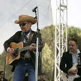 Dave Alvin (left) and Jimmie Vaughan (right) perform with Doug Sahm's Phantom Playboys on the Star Stage during the last day of Hardly Strictly Bluegrass in Golden Gate Park in San Francisco, Calf., on Sunday, October 7, 2012.